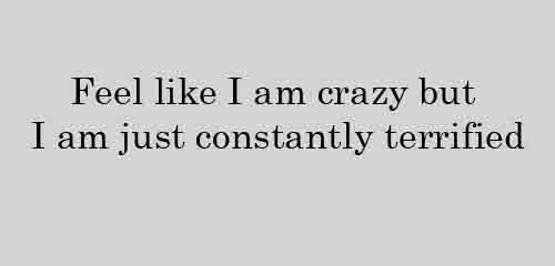 Feel like I am crazy but I am just constantly terrified