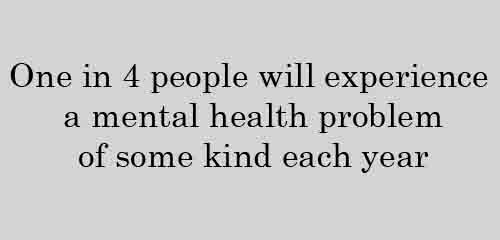 One in 4 people will experience a mental health problem of some kind each year