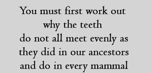 You must first work out why the teeth do not all meet evenly as they did in our ancestors and do in every mammal